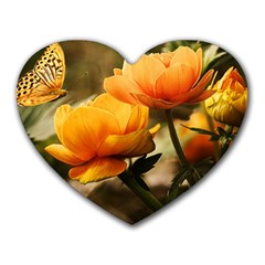 Flowers Butterfly Mouse Pad (heart) by ADIStyle