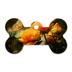 Flowers Butterfly Dog Tag Bone (two Sided) by ADIStyle