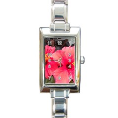 Red Hibiscus Rectangular Italian Charm Watch by ADIStyle