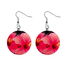Red Hibiscus Mini Button Earrings by ADIStyle