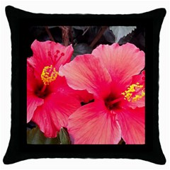 Red Hibiscus Black Throw Pillow Case by ADIStyle