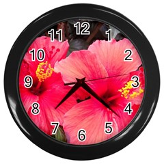 Red Hibiscus Wall Clock (black) by ADIStyle