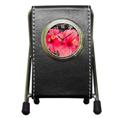 Red Hibiscus Stationery Holder Clock by ADIStyle