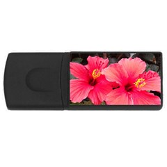 Red Hibiscus 4gb Usb Flash Drive (rectangle) by ADIStyle