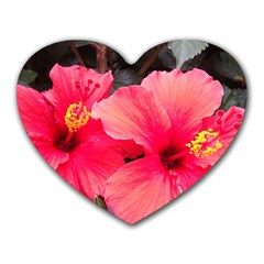 Red Hibiscus Mouse Pad (heart) by ADIStyle