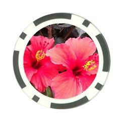 Red Hibiscus Poker Chip by ADIStyle