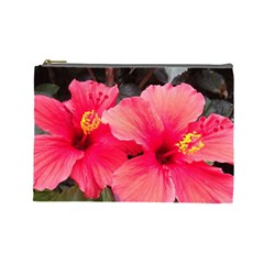 Red Hibiscus Cosmetic Bag (large)