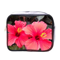 Red Hibiscus Mini Travel Toiletry Bag (one Side) by ADIStyle