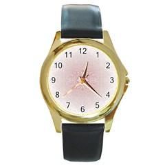 Elegant Damask Round Metal Watch (gold Rim)  by ADIStyle
