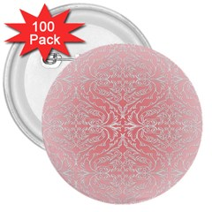 Pink Elegant Damask 3  Button (100 Pack) by ADIStyle
