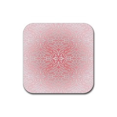 Pink Elegant Damask Drink Coaster (square) by ADIStyle