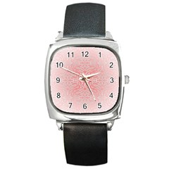 Pink Elegant Damask Square Leather Watch by ADIStyle