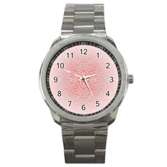 Pink Elegant Damask Sport Metal Watch by ADIStyle