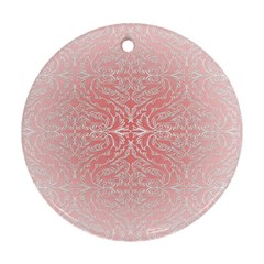 Pink Elegant Damask Round Ornament (two Sides) by ADIStyle
