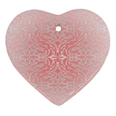 Pink Elegant Damask Heart Ornament (two Sides) by ADIStyle