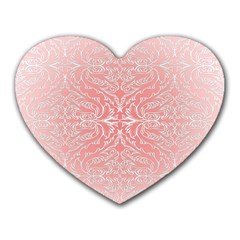 Pink Elegant Damask Mouse Pad (heart) by ADIStyle