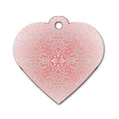 Pink Elegant Damask Dog Tag Heart (one Sided)  by ADIStyle
