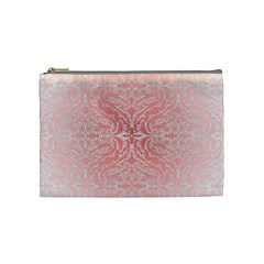 Pink Elegant Damask Cosmetic Bag (medium) by ADIStyle