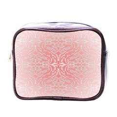 Pink Elegant Damask Mini Travel Toiletry Bag (one Side) by ADIStyle