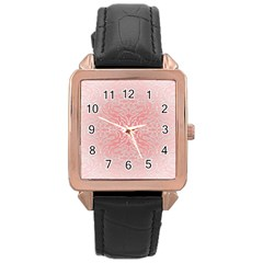 Pink Elegant Damask Rose Gold Leather Watch  by ADIStyle
