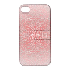 Pink Elegant Damask Apple Iphone 4/4s Hardshell Case With Stand by ADIStyle