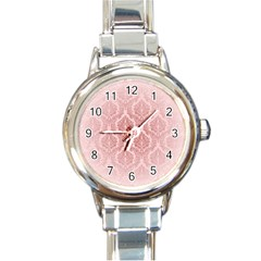 Luxury Pink Damask Round Italian Charm Watch by ADIStyle