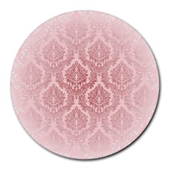 Luxury Pink Damask 8  Mouse Pad (round) by ADIStyle