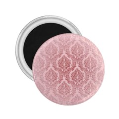 Luxury Pink Damask 2 25  Button Magnet by ADIStyle