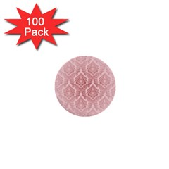 Luxury Pink Damask 1  Mini Button (100 Pack) by ADIStyle