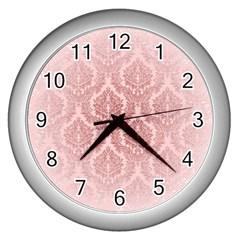 Luxury Pink Damask Wall Clock (silver) by ADIStyle