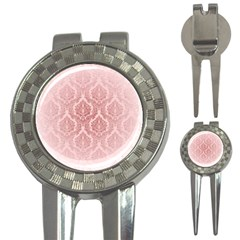 Luxury Pink Damask Golf Pitchfork & Ball Marker