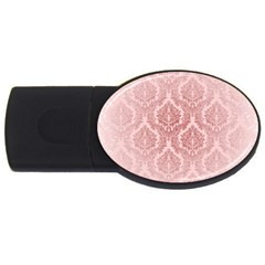 Luxury Pink Damask 4gb Usb Flash Drive (oval) by ADIStyle