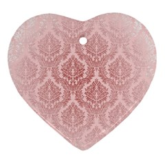 Luxury Pink Damask Heart Ornament (two Sides) by ADIStyle