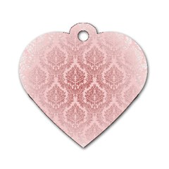 Luxury Pink Damask Dog Tag Heart (two Sided) by ADIStyle