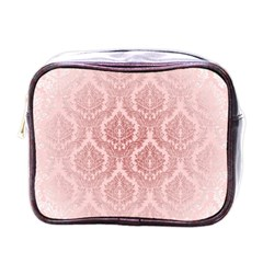Luxury Pink Damask Mini Travel Toiletry Bag (one Side) by ADIStyle