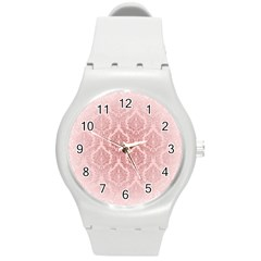 Luxury Pink Damask Plastic Sport Watch (medium) by ADIStyle