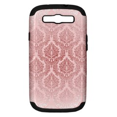 Luxury Pink Damask Samsung Galaxy S Iii Hardshell Case (pc+silicone) by ADIStyle