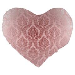 Luxury Pink Damask 19  Premium Heart Shape Cushion by ADIStyle