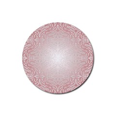 Pink Damask Drink Coaster (round) by ADIStyle