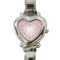 Pink Damask Heart Italian Charm Watch  by ADIStyle