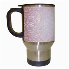 Pink Damask Travel Mug (white) by ADIStyle