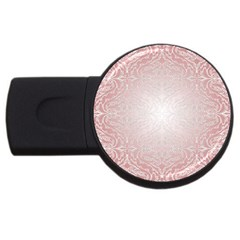Pink Damask 4gb Usb Flash Drive (round) by ADIStyle