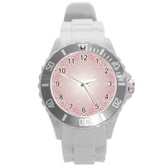 Pink Damask Plastic Sport Watch (large) by ADIStyle