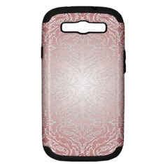 Pink Damask Samsung Galaxy S Iii Hardshell Case (pc+silicone) by ADIStyle