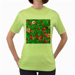 Flower Dreams Womens  T Shirt (green)