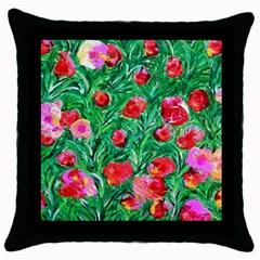 Flower Dreams Black Throw Pillow Case by dawnsebaughinc