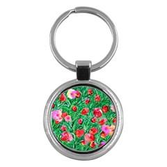 Flower Dreams Key Chain (round) by dawnsebaughinc