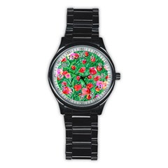 Flower Dreams Sport Metal Watch (black) by dawnsebaughinc