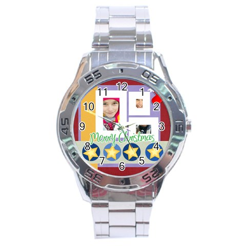 Christmas By Merry Christmas   Stainless Steel Analogue Watch   4yvmwhehva8t   Www Artscow Com Front