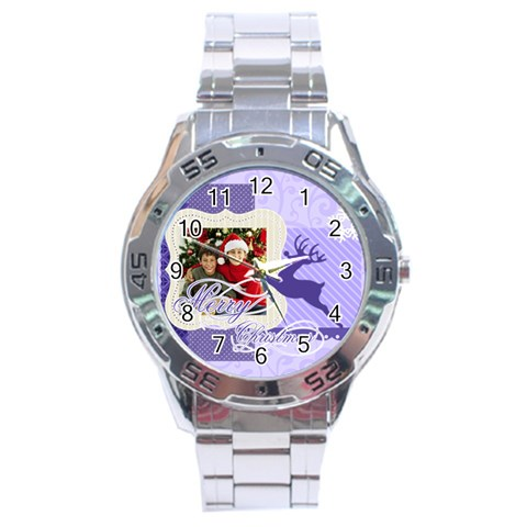 Christmas By Merry Christmas   Stainless Steel Analogue Watch   4az6odqtqkkl   Www Artscow Com Front